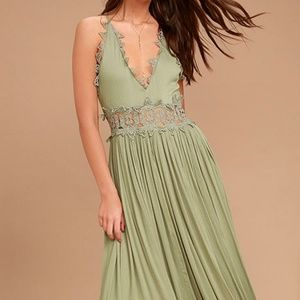 LuLus This Is Love Sage Green Lace Maxi Dress